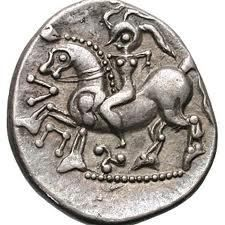 A Celtic coin of the Iron Age depicts a woman riding a horse. Note the apparent astronomical designs!