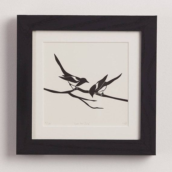 Two for Joy  Magpie letterpress print by emmaleecheng on Etsy, £25.00