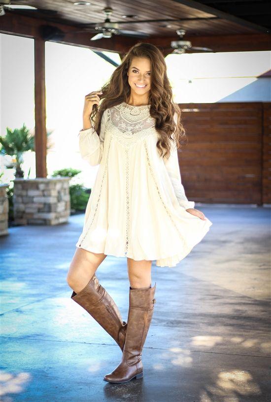 Fall In Birmingham Dress- Ivory $42.99! #lace #highneck #fallfashion #southernfriedchics