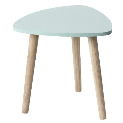 Table basse de style nordique avec plateau vert et pieds couleur bois.<br>MDF (panneau de fibres de bois).<br>Dim. 32x35x35 cm.