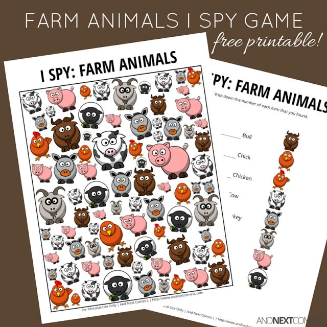 Free printable farm animal themed I Spy game for kids from And Next Comes L