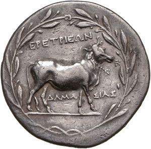 Tetradracma - argento - Eretria, Eubea (Grecia) (170-150 a.C.) EPETPIEΩN ΔAMA-ΣIAΣ una mucca con collare entro corona di alloro - Münzkabinett Berlin