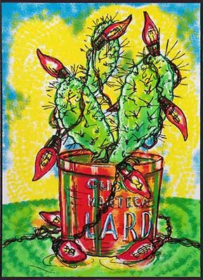 Wayne Healy Born: 1964, East Los Angeles, Christmas Card, Serigraph, edition of 50, 7 x 5 inches, 2002