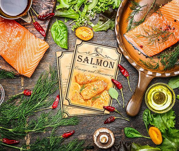 5 recipes for salmon fillets recipes card by BlueberryDreamDesign