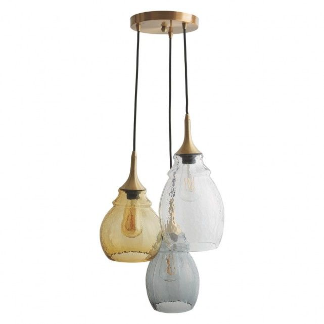 CINDERS Cinders tinted glass triple drop ceiling light