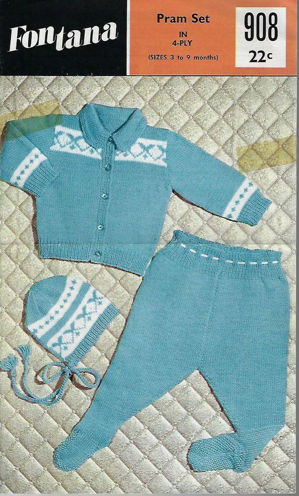 ad15e351f Baby Pram Set Fontana 908 vintage knitting pattern 4 ply yarn