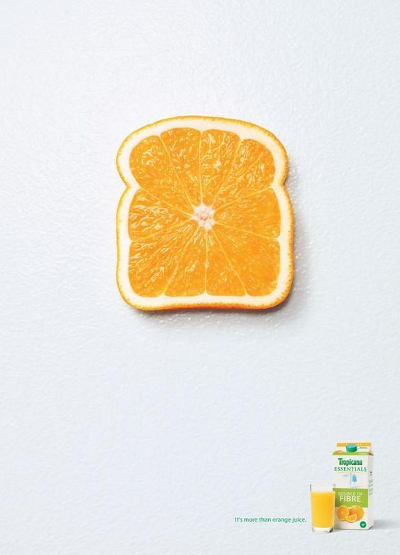 I like how simple this advertisement is and I like how the designer chose a white background because it draws your eyes straight to the orange and then down to the glass of orange juice.