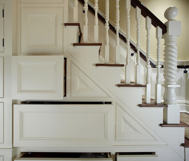 Another possibility for under-stair storage. Also like spindle turnings.