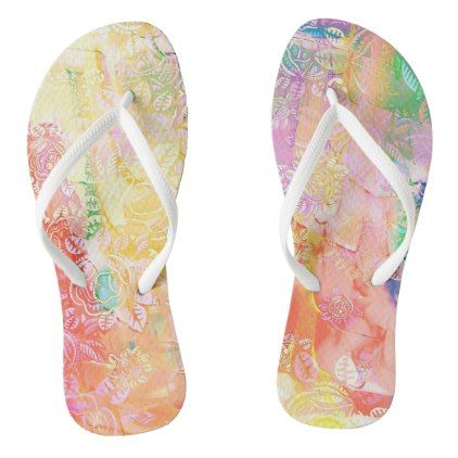 Lovely Watercolor Floral Flip Flops - patterns pattern special unique design gift idea diy