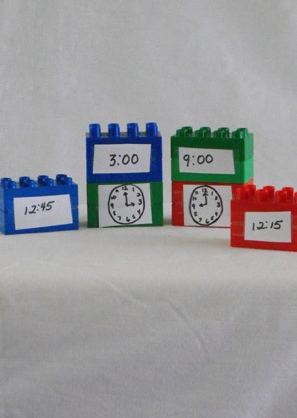 An easy DIY math center for telling time using Legos!