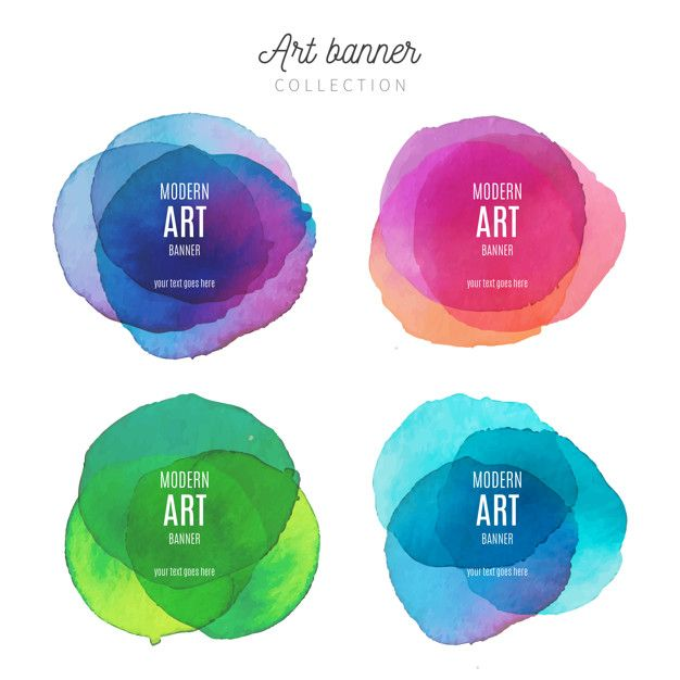 Art Banner Collection With Watercolor Splashes Free Vector In 2020