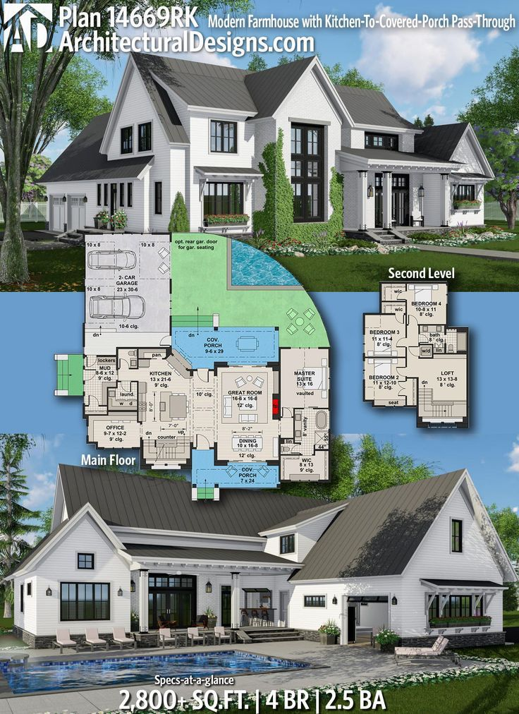 Plan 14669rk Modern Farmhouse With Kitchen To Covered Porch Pass Through In 2020 Farmhouse Plans House Plans Dream House Plans