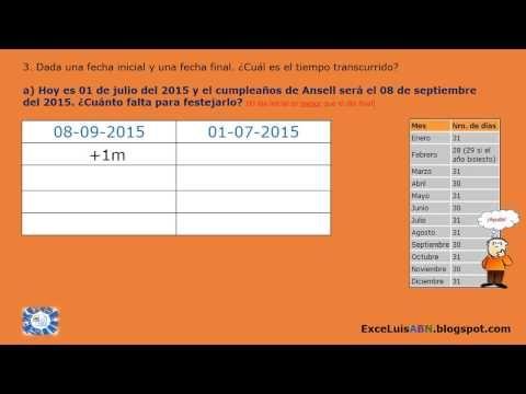 Calcular el periodo entre dos fechas: Aplicando algoritmo ABN. http://exceluisabn.blogspot.com/