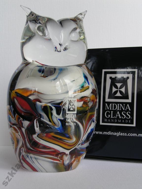 Sowa figurka szklana Mdina Glass