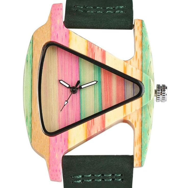 Unique Colorful Wooden Triangle Hollow Quartz Watch for Women