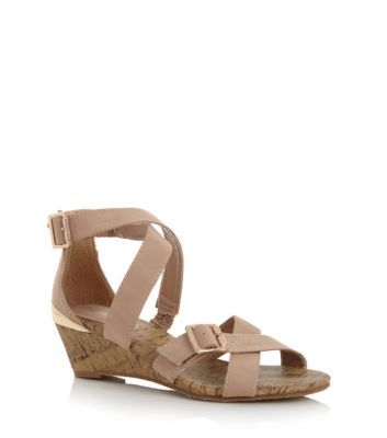 Stone Buckle Low Wedge Strappy Sandals