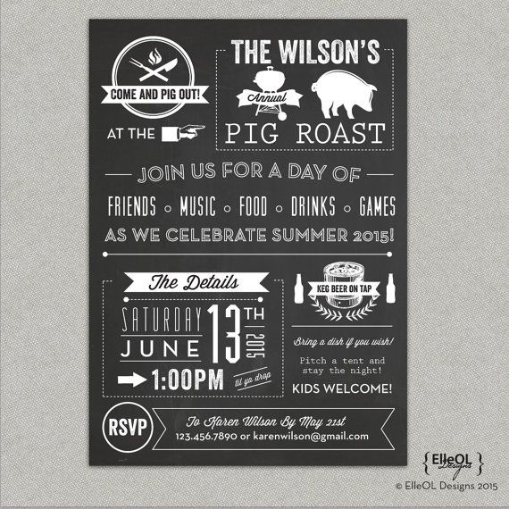 Chalkboard Pig Roast Party Invitation - we're using this for our anniversary pig roast !