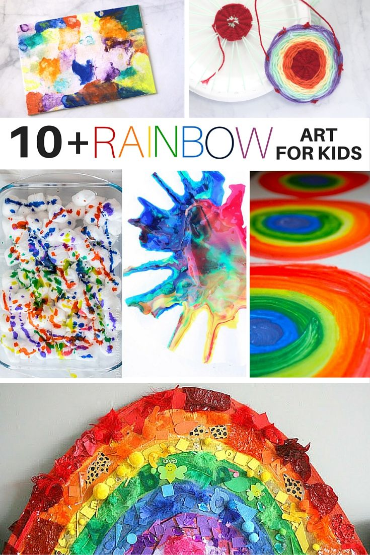 10+ Rainbow Art Activities for Kids (Art Shelf - bottom rainbow using paper squares & various stickers/objects of matching color)