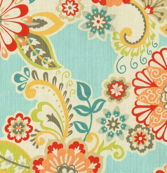 Retro Floral Valance Waverly Caribbean Teal Turquoise