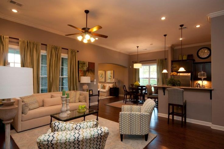 Open floor plan kitchen living room and hearth room Open floor plan living room furniture arrangement
