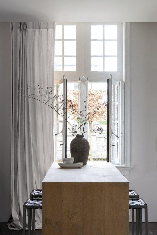 Copahome raamdecoratie / zonwering  gordijn, overgordijn wit semi transparant /  La décoration de fenêtre.  Rideaux, blanc, semi transparent