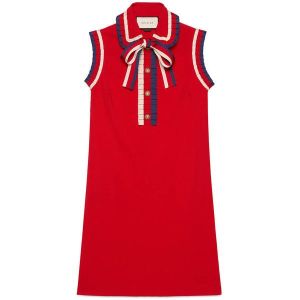 Gucci Stretch Viscose Jersey Dress ($1,700) ❤ liked on Polyvore featuring dresses, red, collared shirt dress, red collar dress, stretch dress, red dress and collar dress