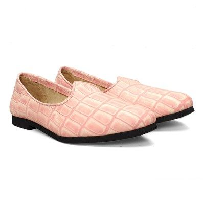 BUY PINK CROCO PRINT LEATHER JALSA #SLIP-ON WITH BLACK SOLE BY BARESKIN #blacksole