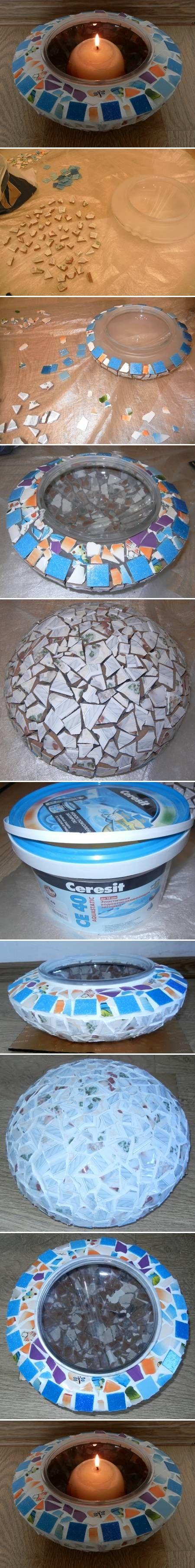 DIY Mosaic Candle Holder DIY Projects | UsefulDIY.com