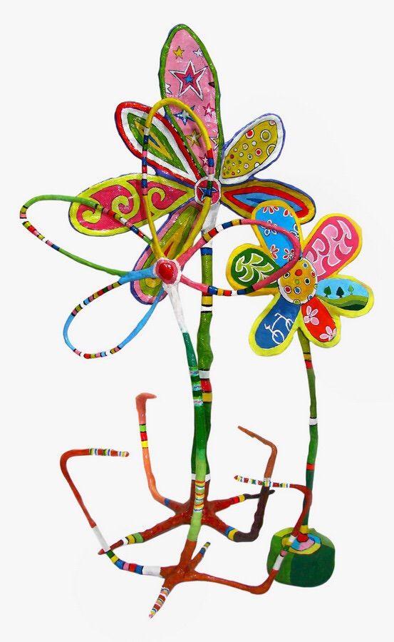 Here comes the spring! Ανδρέας Ψαρακος, Λουλούδια, μικρογλυπτα, μικτή τεχνική (γύψος, papier mâché, ακρυλικά χρώματα)