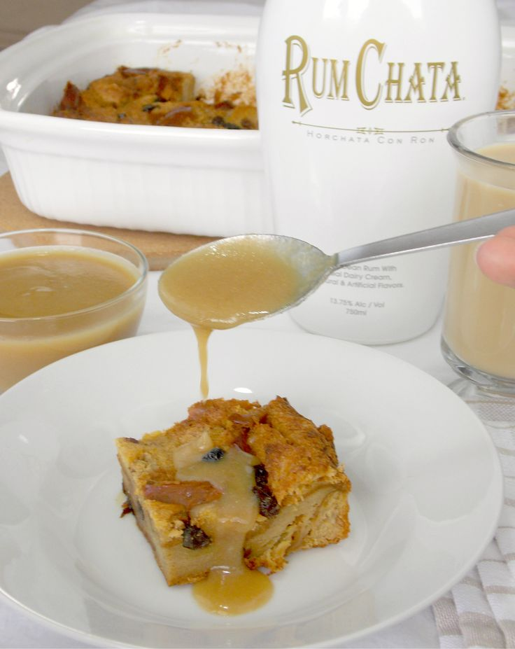 RumChata Bread Pudding - Bread and raisins are soaked in cinnamon, vanilla, RumChata custard and baked until golden then drizzled in warm, brown sugar, RumChata sauce
