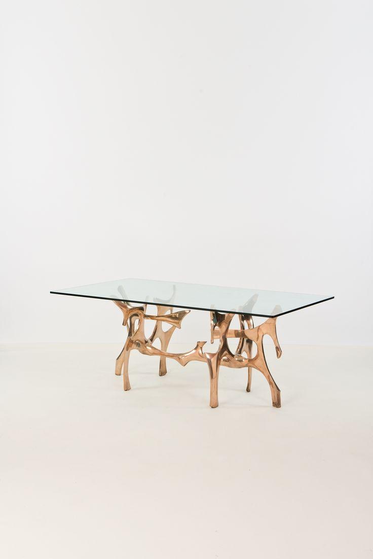 Fred Brouard; Glass And Polished Bronze U0027Coralu0027 Coffee Table, ...