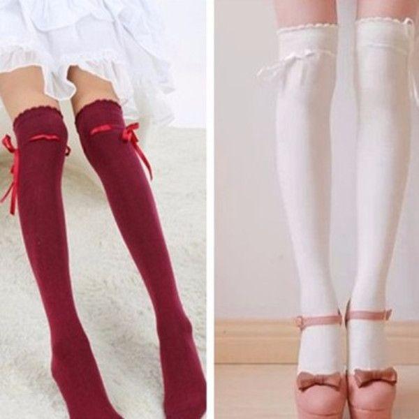 Cute sweet lace bowknot stockings