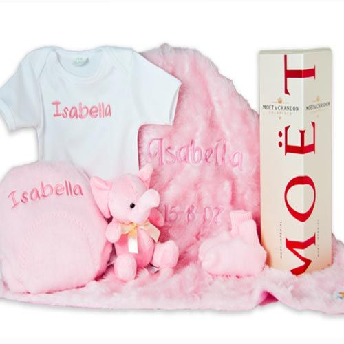 Personalised baby blanket with matching suit and bib.