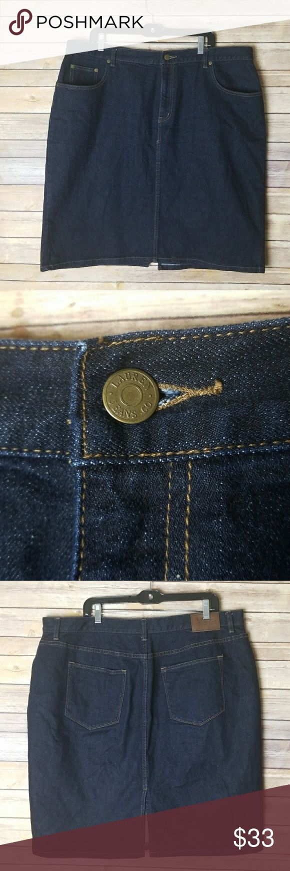 Ralph Lauren Denim Skirt Size 18W Guc no damage or stains  Waist 20.5 in Waist to hem 23.5 in  PL1 Ralph Lauren Skirts Midi