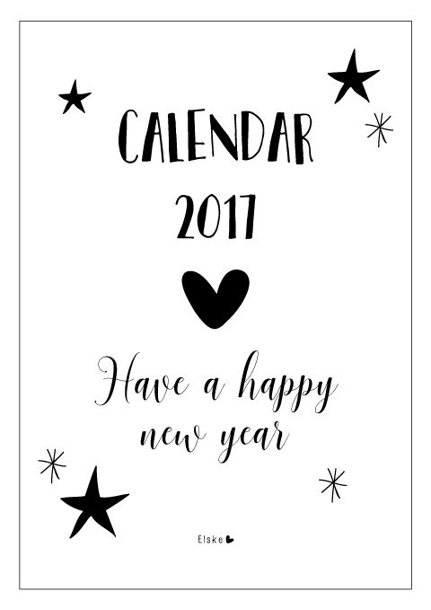 Printable kalender 2017 | Elske | www.elskeleenstra.nl Happy New Year!