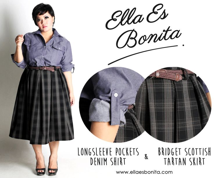 Longsleeve Pockets Denim Shirt & Bridget Scottish Tartan Skirt - This vintage shirt and skirt features high quality chambray denim for shirt and thick wooven wool for skirt which specially designed for sophisticated curvy women originally made by Indonesian Designer & Local Brand: Ella Es Bonita. Available at www.ellaesbonita.com