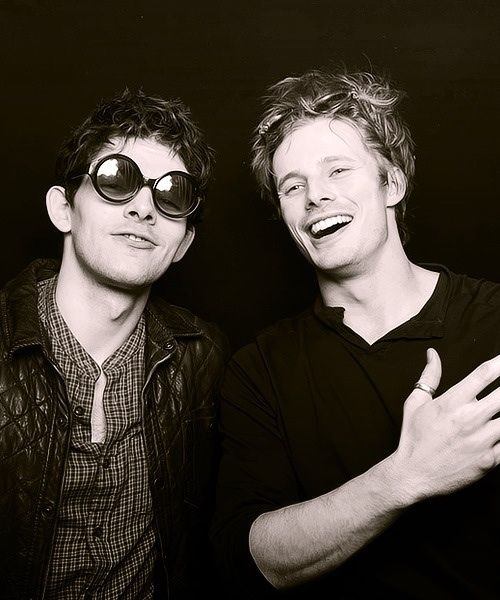 The handsome costars Colin Morgan and Bradley James