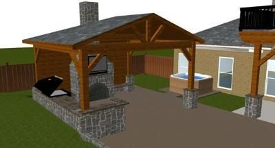 """Covered patio with outdoor fireplace and kitchen """"design rendering"""""""