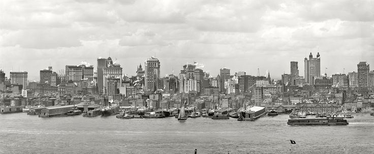 "New York circa 1906. ""Manhattan skyline and East River."" Panorama of two 8x10 inch glass negatives."