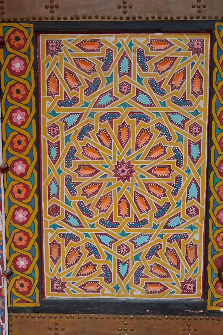 Gorgeous ceiling painting in Marrakech, Morocco. Travel photo by Katja Presnal @skimbaco