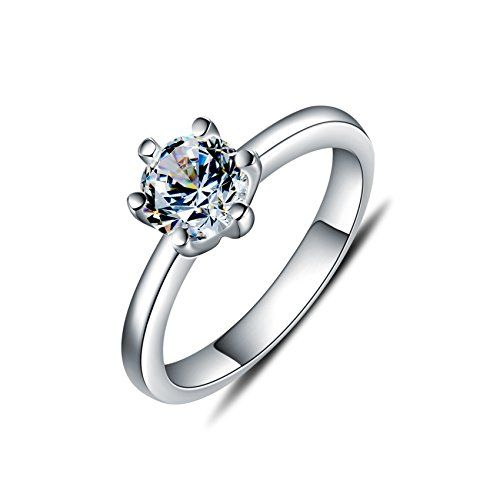 TENYE Women's 925 Sterling Silver CZ Round Cut Bridal Engagement Ring Clear nIMsFQ