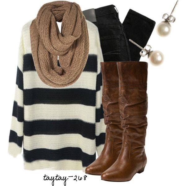 Black and white striped sweater, beige infinity scarf, black skinny jeans or leggings, tall brown boots.
