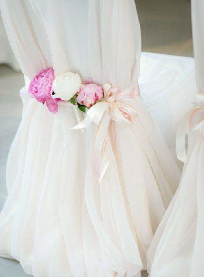la plus belle housse de chaise mariage en voilage blanc