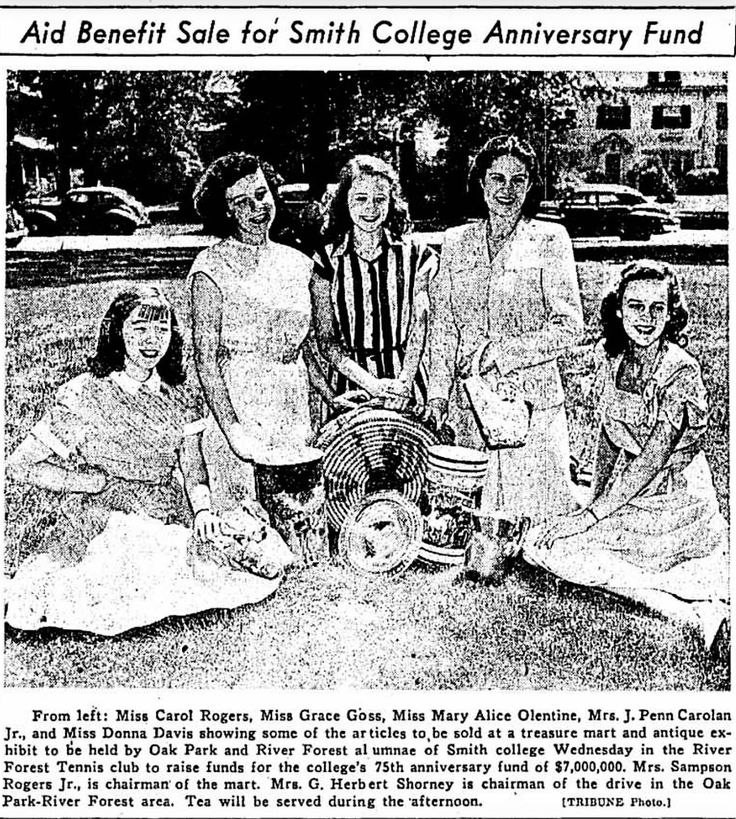 40's; Aid benefit sale for Smith Collage Anniversary fund.  ※6/2/1947,Chicago Tribune