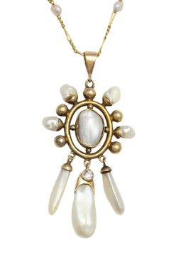 14K Yellow Gold 3-17mm Mississippi Freshwater Pearl  Diamond Pendant Necklace
