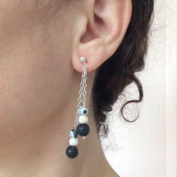 Dangling chain earrings Sterling silver earrings earrings