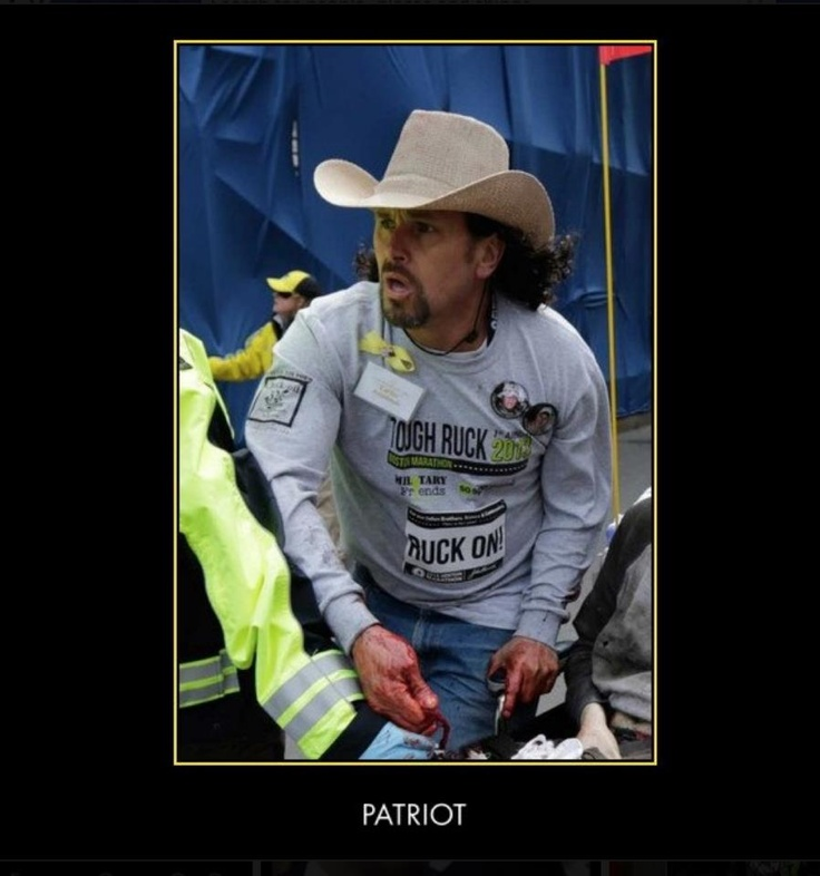 The man in the hat at Boston Marathon finish line: Carlos Arredondo didn't set out to be hero.  God Bless - I salute you!