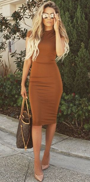 Woody Brown Bodycon Dress One Can Wear In Formals With Heels And Dark Brown Bag.