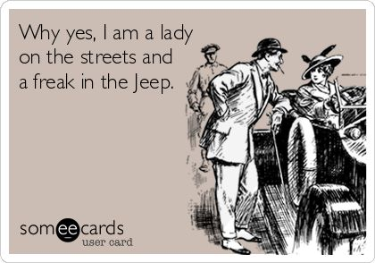 Why yes, I am a lady on the streets and a freak in the Jeep.