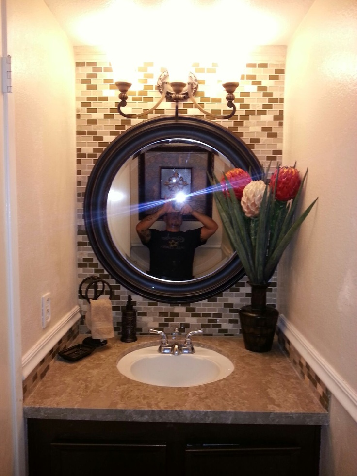 Half bathroom glass tile granite countertop half bath - Half bath decor ideas ...